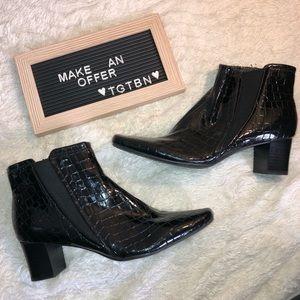 Bandolino Shiny Animal Print Heeled Ankle Boots